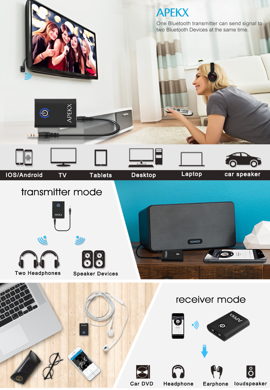 Apekx Bluetooth 41 Transmitter Receiver 2 In 1 Av Receivers Datasheet For Home Theater Product Solution Multifunctional Function This Audio Is The Ideal Wireless A Wide Range Of Applications