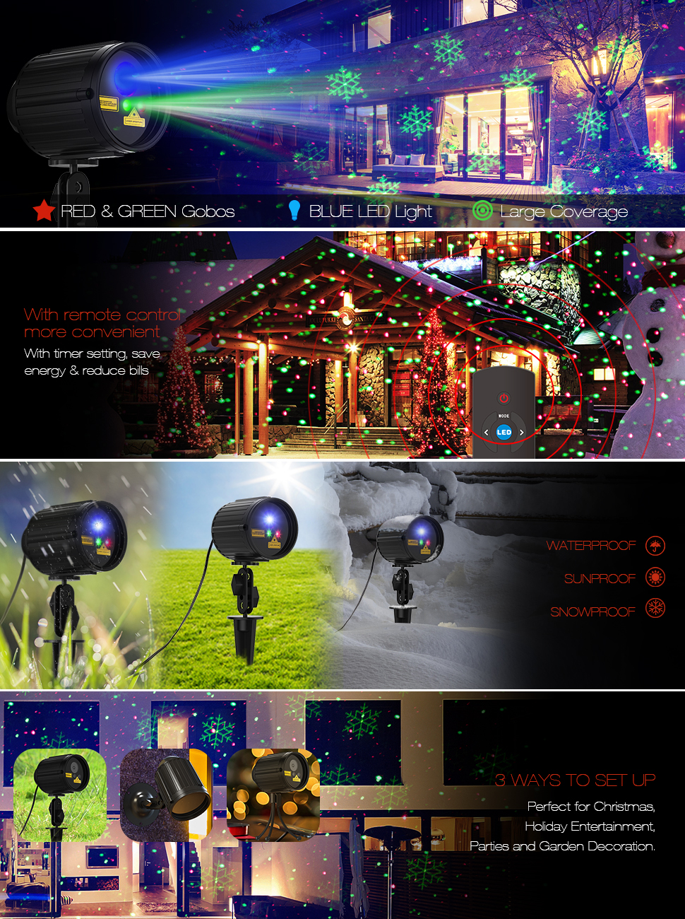 Amazon.com : Christmas Projector Lights Laser Lights Laser Show ...