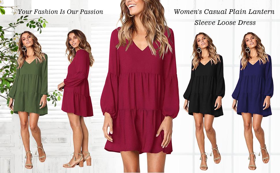 74910e352e33 Women s Lantern Long Sleeve Tunic Dress V Neck Loose Swing Shift Dresses