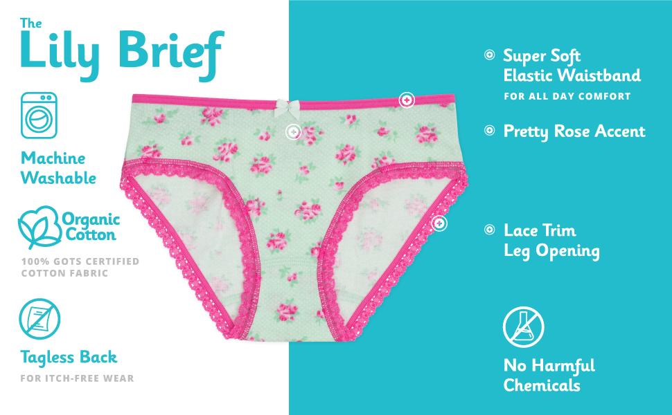 7-Pack Organic Cotton Underwear Gracie Girls Brief Tagless Lucky /& Me