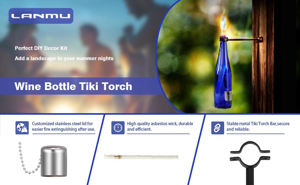 Garden & Patio Wine Bottle Tiki Torch Kit Outdoor Hardware Stand Wick 35cm Long Cap Brass Mount