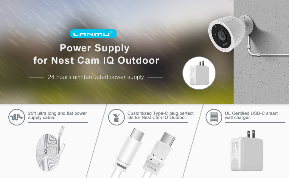 Amazon Power Adapter For Nest Cam Outdoor Lanmu Weatherproof Cable