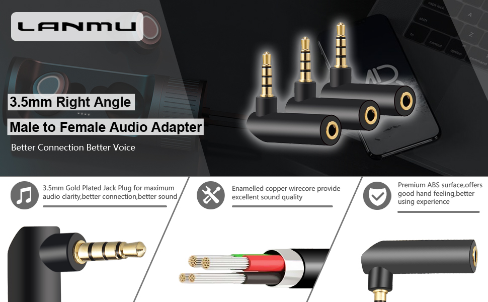 LANMU 3.5mm 90 Degree Audio Adapter,3.5mm Audio Adapter,3.5mm Right Angle Adapter Headphone Adapter,Female to Male AUX Adapter-3 Pack
