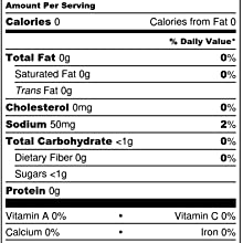 Salted Caramel Nutritional Label