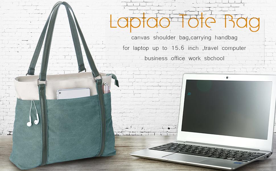 Voovc Environmental Protection Women Canvas Easter Rabbit Laptop Tote Bag Fits 15.6 Computer Handbag Purse Shoulder Bag for Work Travel