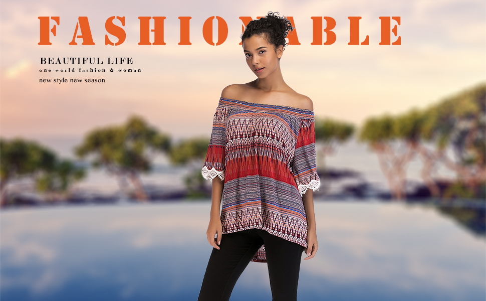 6d39a361b2b7b6 OneWorld Women s Boho Print Off Shoulder Lace Trim Flare Sleeve Top ...