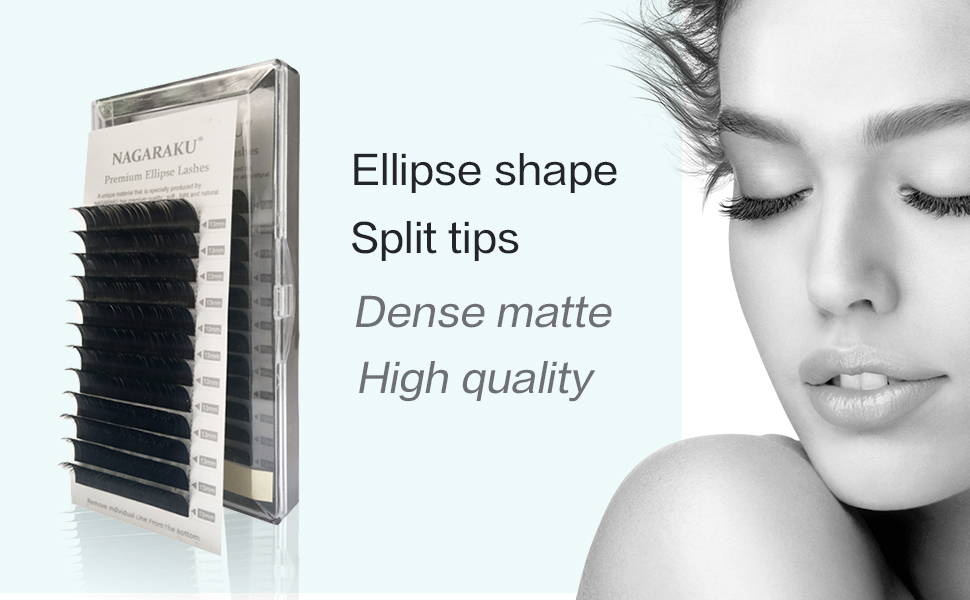 552601385b5 NAGARAKU Flat Ellipse Eyelashes Extensions split tips, natural light false  eyelashes soft and easily grafting