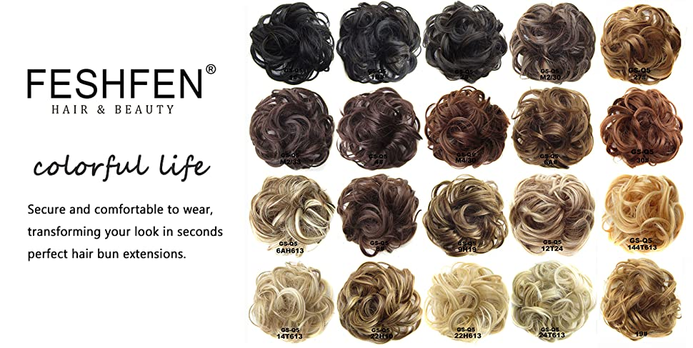 Amazon feshfen wavy curly messy hair bun extensions donut scrunchie hairpiece scrunchy scrunchie bun hair bun updo up do hairpiece hair ribbon ponytail extensions pmusecretfo Images