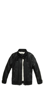 Children's thick leather jacket