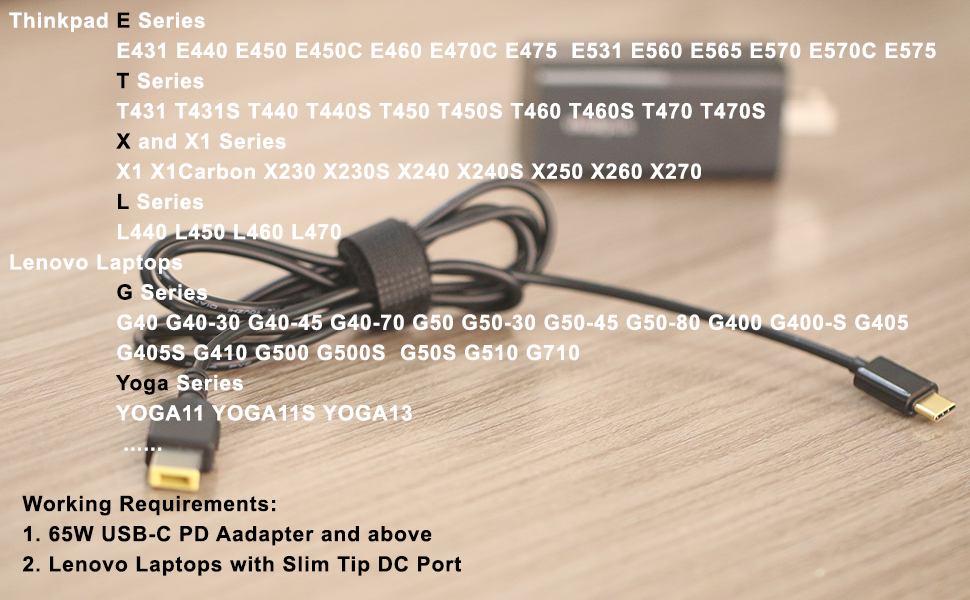 Slim-tip 90W FahanTech USB-C to Slim Tip Power Cable Compatible with Lenovo Slim tip laptops