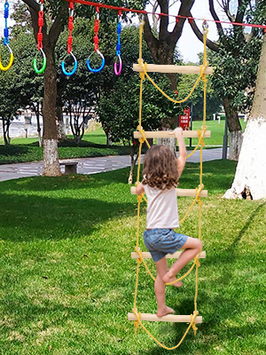 Outdoor Climbing Net Swingset for Playground Treehouse Obstacle Course RedSwing Climbing Cargo Net for Kids Indoor