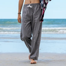 Baby Huskie Animal Mens Beach Pants Summer Casual Workout Pants with Pockets
