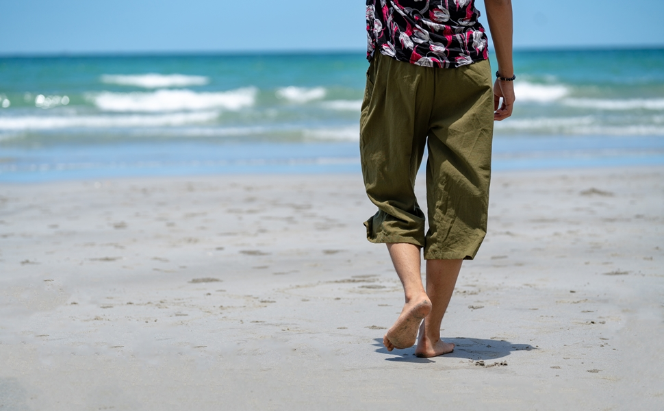 mens cotton linen loose fitting capri workout yoga pajama wide leg summer pants