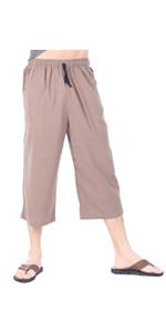 1fedb92a09 ... Mens Cotton Pilates Yoga Capris Beach Lounge Sleep Pajama Capri Pants  pockets. CandyHusky ...