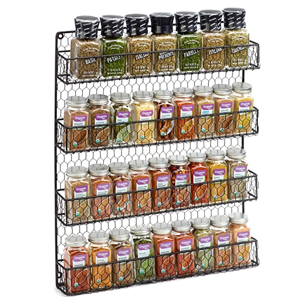 4 Tier Country Metal Chicken Wire Spice Rack
