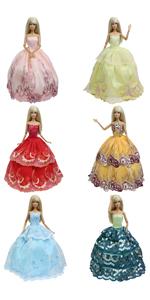 5 pcs barbie dresses