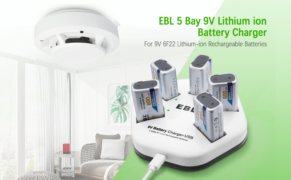 EBL 9V Rechargeable Batteries Lithium ion 9V 600mAh Batteries 600mAh with 5 Bay 9V Battery Charger 2A Input for Smoke Alarm Detectors 5 Packs