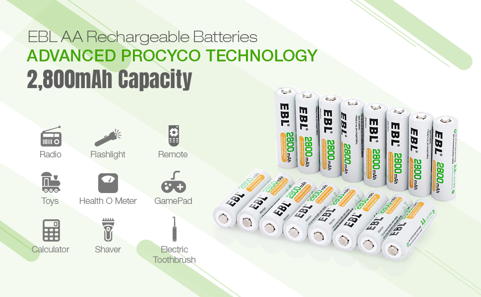 aa rechargeable batteries, 2800mAh batteries