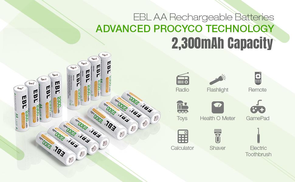 2300mAh rechargeable aa batteries