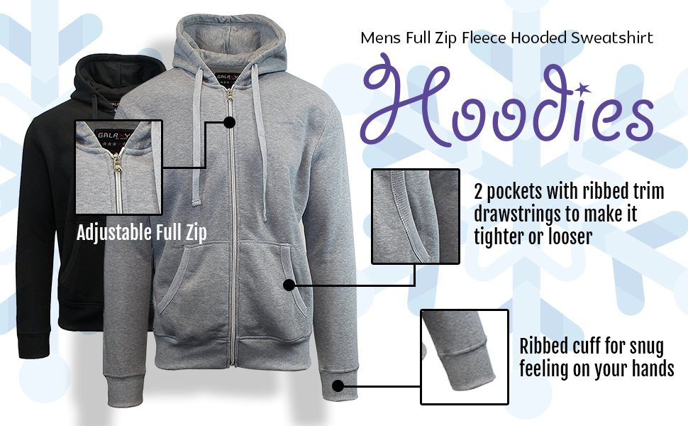 Galaxy by Harvic Mens Full Zip Fleece Hooded Sweatshirt