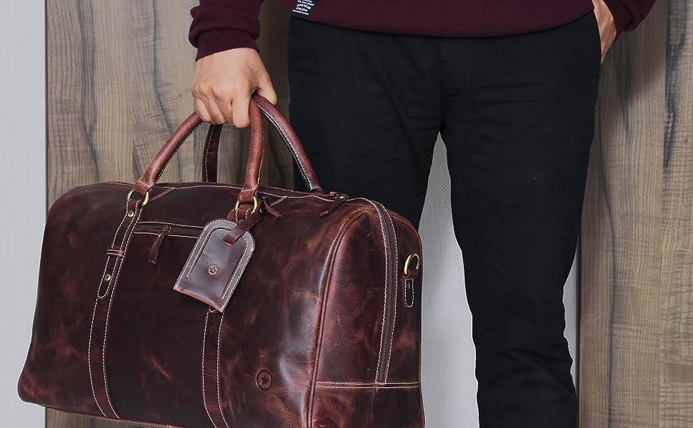 8b44891f9ff4 ASTER II - Leather Duffle Bag - Walnut