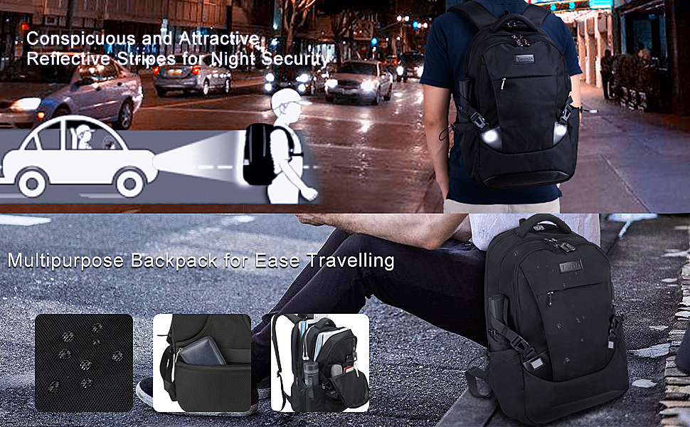 Water Resistant Durable Backpack Night Security Bag for Business Travel College Hiking Riding