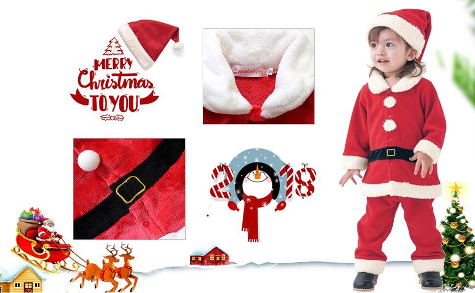Amazon.com: Navidad Costume bebé Boys Girls Santa Claus de ...