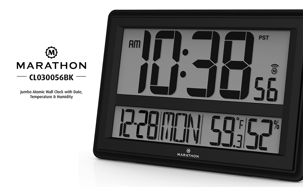 Amazon Marathon Cl030056bk Jumbo Atomic Wall Clock With Date