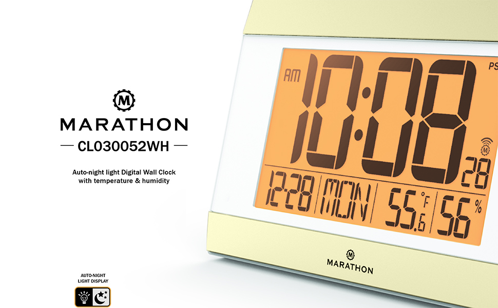 Amazon Marathon Cl030052wh Atomic Digital Wall Clock With Auto