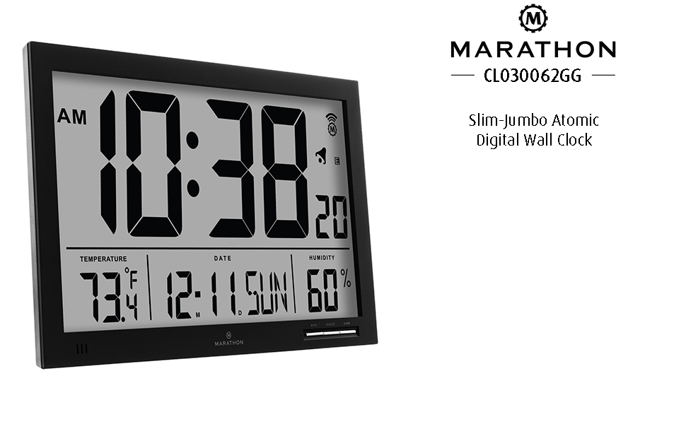 Amazon Marathon Cl030062bk Slim Jumbo Atomic Digital Wall Clock
