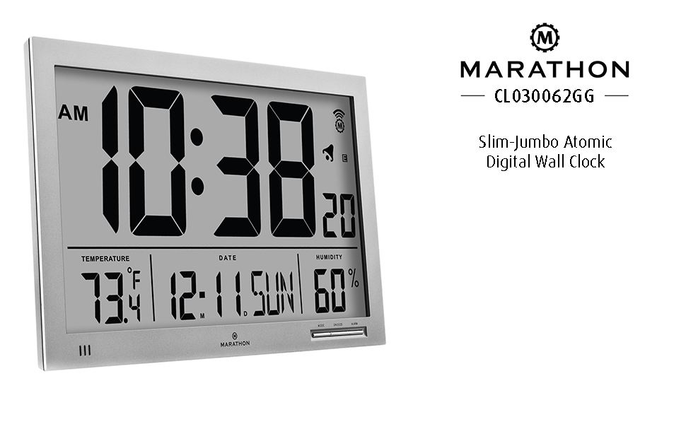 Amazon Marathon Cl030062gg Slim Jumbo Atomic Digital Wall Clock