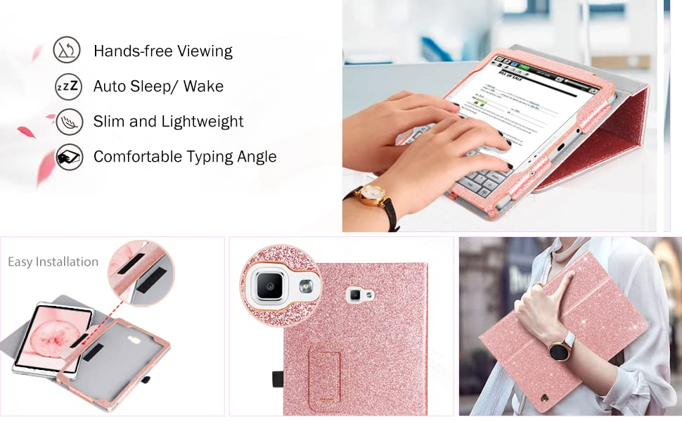 f1a6396142d6 BENTOBEN Galaxy Tab A 10.1 Case,Slim Lightweight PU Leather Glitter ...