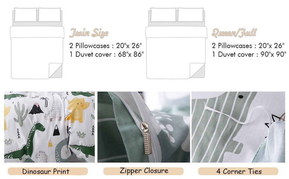 Duvet Cover with Zipper Ties Shams