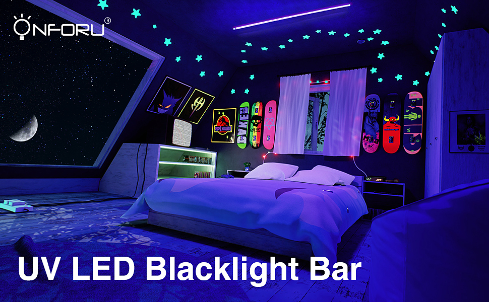 Onforu 22W UV LED Black Light Bar, 4ft T5 LED Tube with 5.0ft Power Cord  with Switch, Glow in The Dark Party Supplies for Body Paint, Fluorescent ...