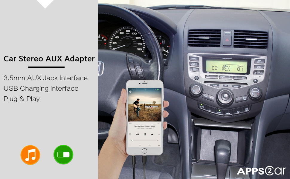 amazoncom  generation car stereo aux input adapter appscar auxiliary mp kit usb