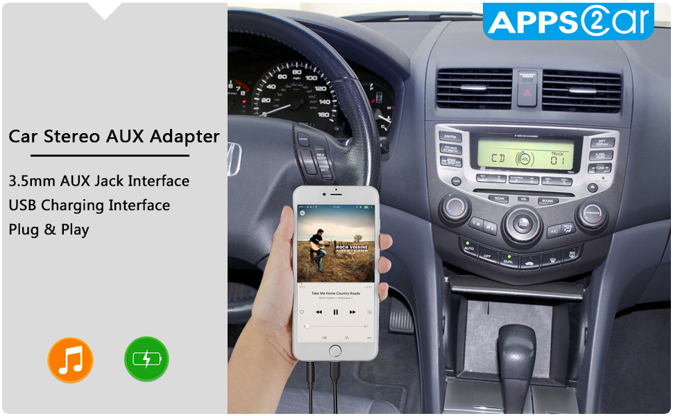 Amazon com: Car AUX Adapter with USB Charger for Honda Civic
