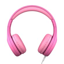 Front view of pink Connect+ Pro volume limited kid's headphones for ages 6 and up