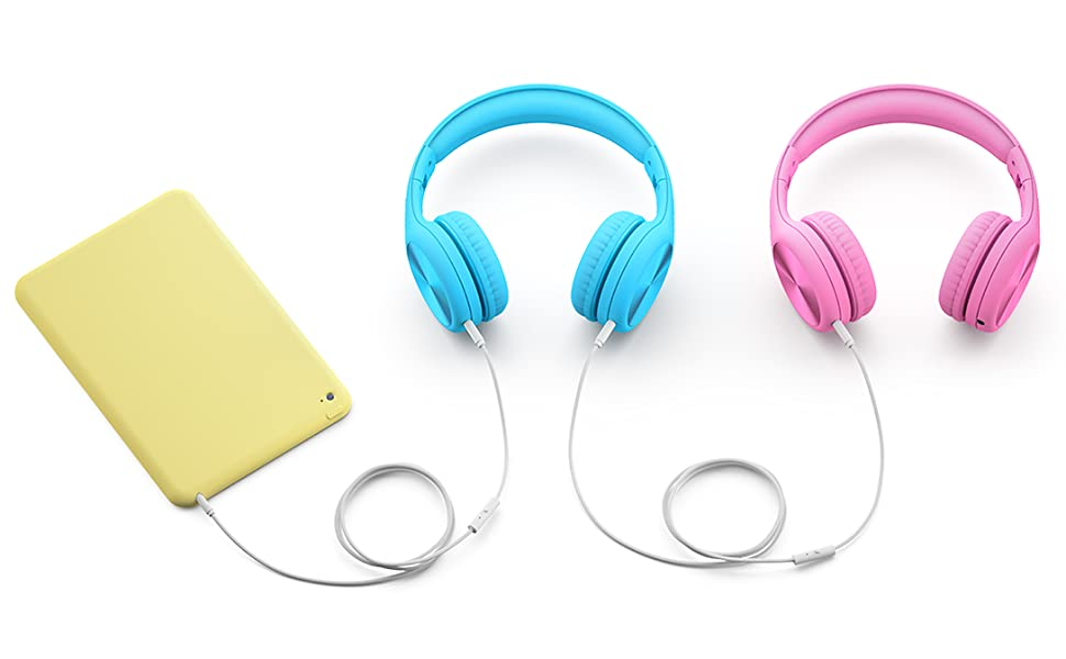 Pink and blue Connect+ Pro volume limited headphones sharing media via integrated SharePort