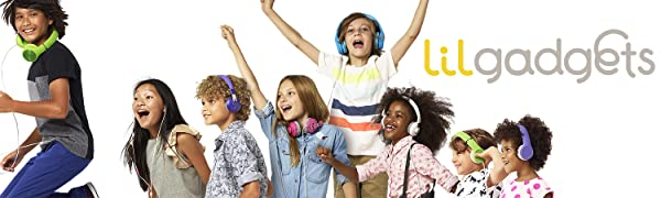 Kids with Connect+ Pro, BestBuds, Untangled Pro, Connect+ volume limited headphones with SharePort