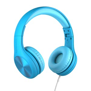 Blue Connect+ Pro volume limited wired over-the-ear headphones for kids with integrated SharePort