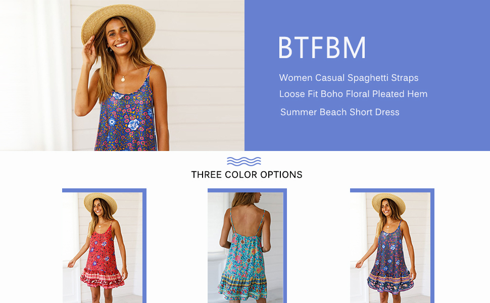 a08fbe9cf6 BTFBM Women Summer Sleeveless Casual Loose Vintage Floral Backless Short  Dresses for Party