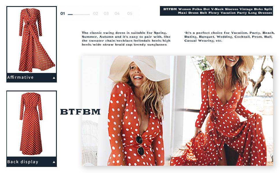 da8e400cab9 BTFBM Women Dot Printed High Waist Elegant Maxi Dress With Belt Evening  Party Cocktail Beach Sundress