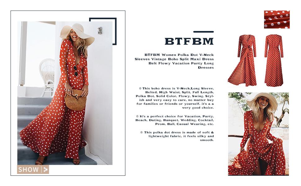 f53a8a61866a BTFBM Ladies Polka Dot Print Chiffon Boho Long Sundress V-Neck Split  Elegant Belted Maxi Dress