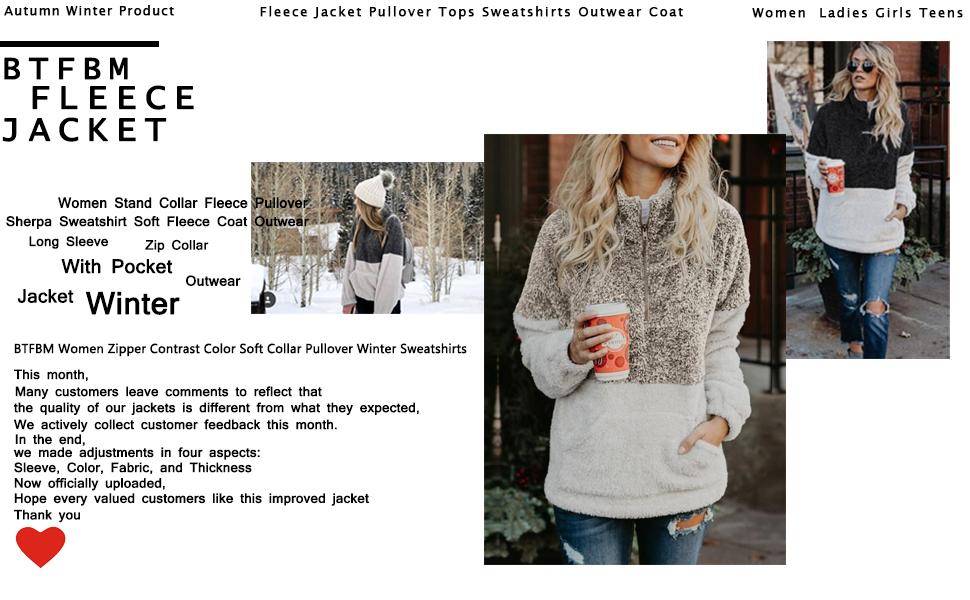 8cfaeb7d47cdc0 BTFBM Women Stand Collar Fleece Pullover Sherpa Sweater Long Outwear Zipper  Pockets. Fleece Pullover Coat Outwear
