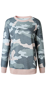 0a488eacd3ead8 BTFBM Women Camouflage Print Long Sleeve Crew Neck Loose Fit Casual ...