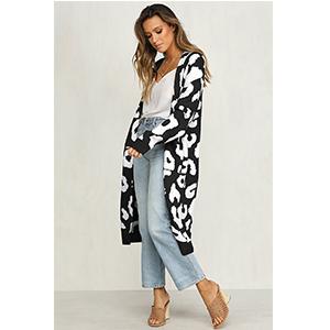 b9224958c Details about BTFBM Women Long Sleeve Open Front Leopard Knit Long Cardigan  Casual Print Kn...