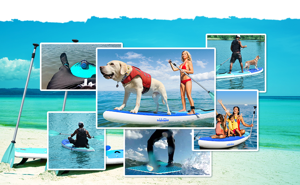 zupapa inflatable stand up paddle board suitable for multi-usage