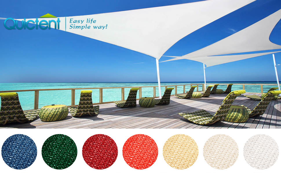 20x20ft, Sand Quictent 185G HDPE Square Sun Shade Sail Canopy 98/% UV Block Top Outdoor Cover Patio Garden