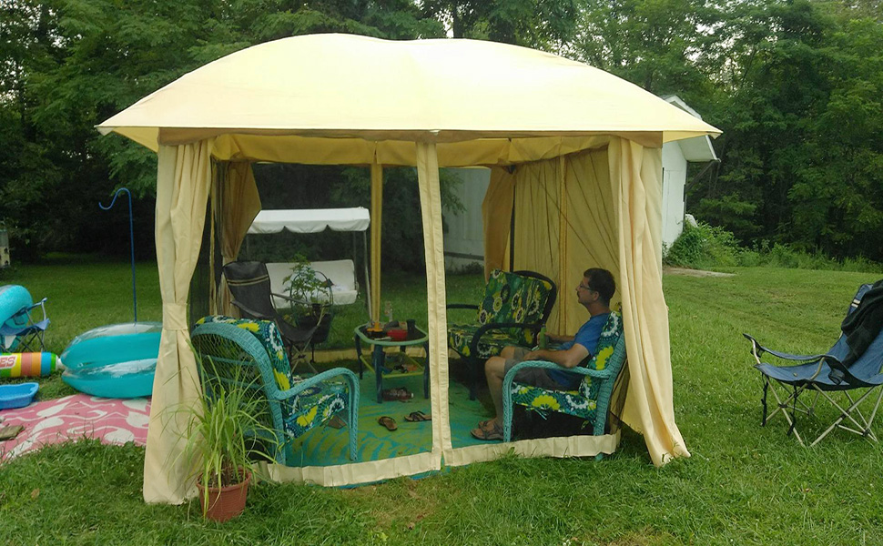 Pleasant Quictent 12X12 Ft Metal Gazebo Canopy Pergola With Mesh Screen Netting Curtains Heavy Duty 100 Waterproof For Deck Patio And Backyard Tan Home Interior And Landscaping Spoatsignezvosmurscom