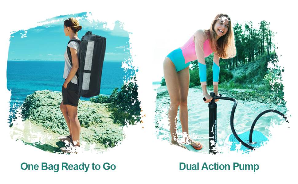zupapa inflatable stand up paddle board large backpack and dual action pump